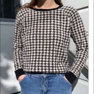 J Crew gingham black and white sweater